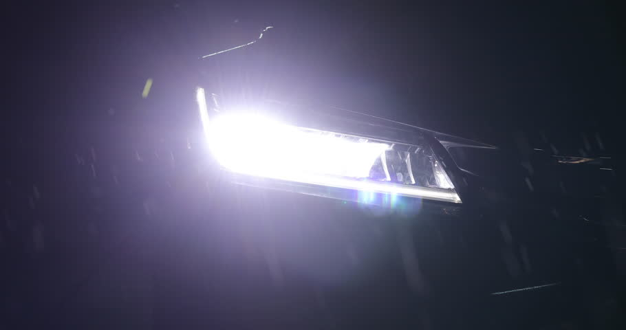 Headlight vehicle car open in rainy night street road | Shutterstock HD Video #1007343568