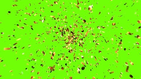 Golden Confetti Party Popper Explosions on a Green and Black Backgrounds. 3d animation, 4K.