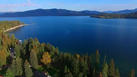 Flying over the coastline of beautiful Lake Pend Oreille, Idaho.
