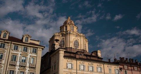 TURIN, PIEMONTE, ITALY, 2016: church San lorenzo Piazza Castello, timelapse, 4K