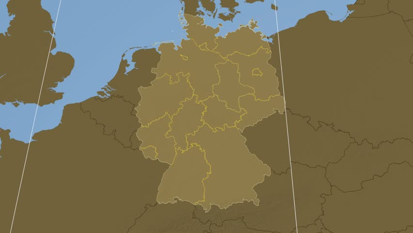 RheinlandPfalz State Extruded On The Elevation Map Of Germany - Map with elevation data