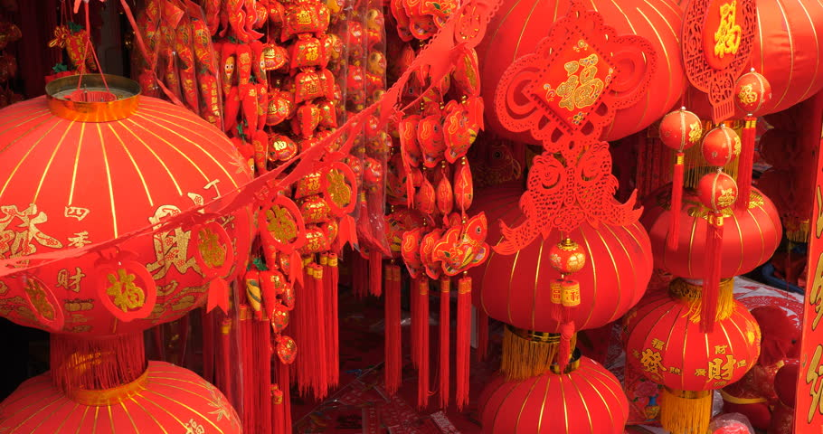 Feb.11,2018-Chengdu,China:Crowds in HeHuachi market ,shopping Chinese spring festival decorations,   red paper lantern ,Chinese new year 2018