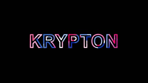 Letters are collected in Element of periodic table KRYPTON, then scattered into strips. Bright colors. Alpha channel Premultiplied - Matted with color black