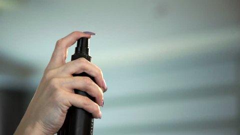 spray hair spray, hair lotion, close-up, back light