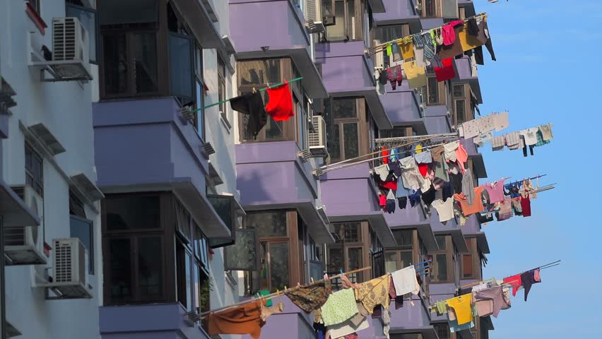 Laundry Hanging To Dry Outside Singapore Apartment Building Chinese Residents Hang Clothes Their Windows On Racks For Drying