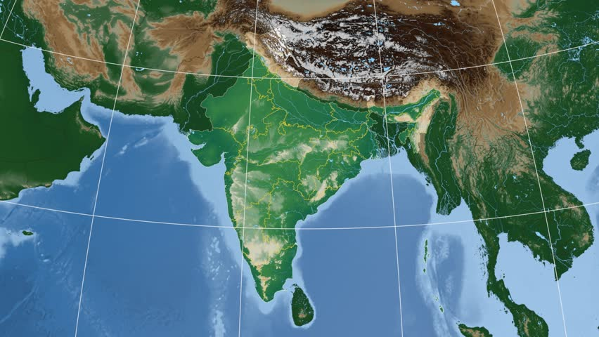 Manipur extruded on the physical map of India. Rivers and lakes shapes added. Colored elevation data used. Elements of this image furnished by NASA.