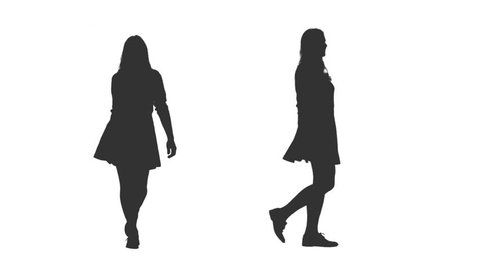 Silhouette cheerful young woman walking in mini skirt, 2 in 1, Front and side view, Full HD footage with alpha channel