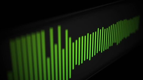 Camera pans over modern cool sleek audio spectrum or waveform of a song - Green Version