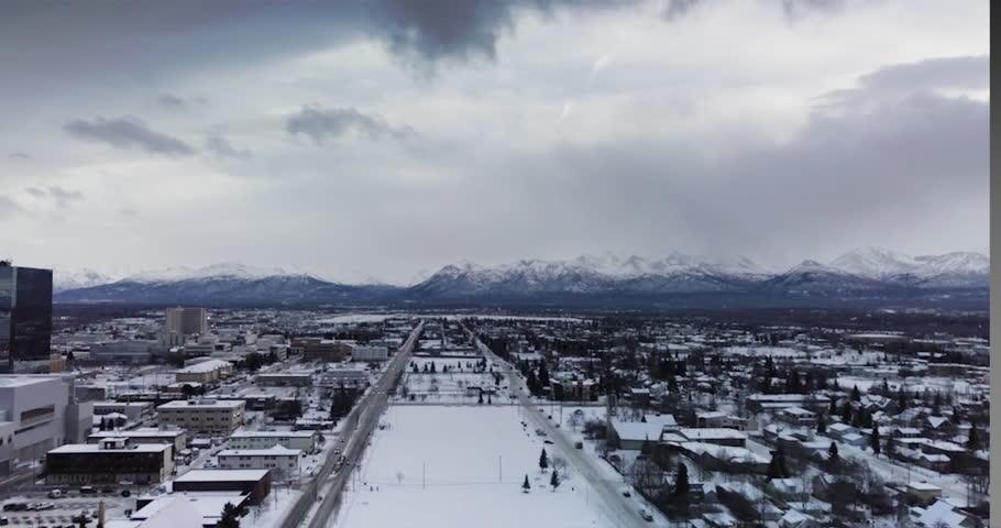 Anchorage - Alaska (birds eye view) Drone 4K