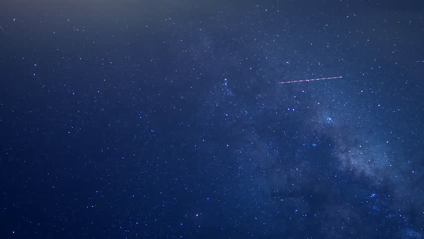Star Time Lapse, Milky Way Galaxy Moving Across the Night Sky, Monument Valley Milkyway, Perfectly seamless loop with twinkling star field. Hundreds and hundreds of stars are displayed. 4K.