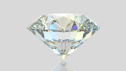 Sparkling diamond slowly rotates on white glossy background. Close-up side view with colorful flashes. Seamless loop 3D animation
