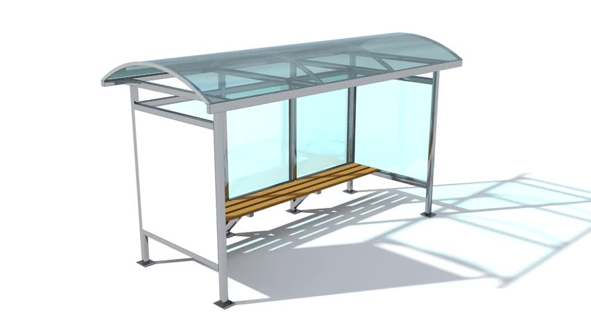 A rotating model of a modern bus stop made of glass and metal with a Billboard. | Shutterstock HD Video #1007539795