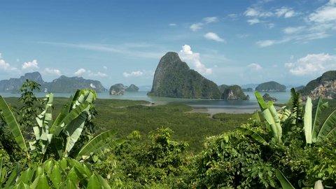 Steadicam shot of Phang Nga Bay, shallow bay with islands and mangrove. Thailand. 4K, UHD