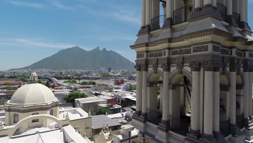 MONTEREY, MEXICO - CIRCA, JULY 2017: Aerial shot of the Monterrey's Cathedral