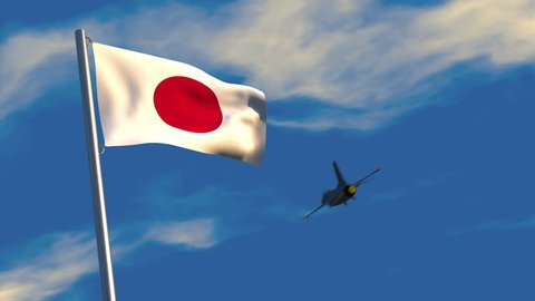 3D animation of a fighter jet flying past a Japanese flag waving on a flagpole; depicting heightened military activity