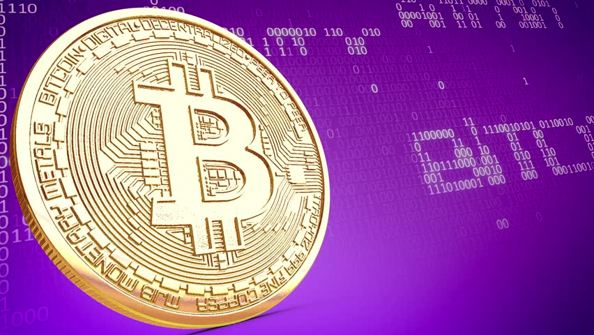 Golden Bitcoin Coin rotating Loop Perspective Digital Money Binary Numbers 3D Renderings Animations   Shutterstock HD Video #1007583586