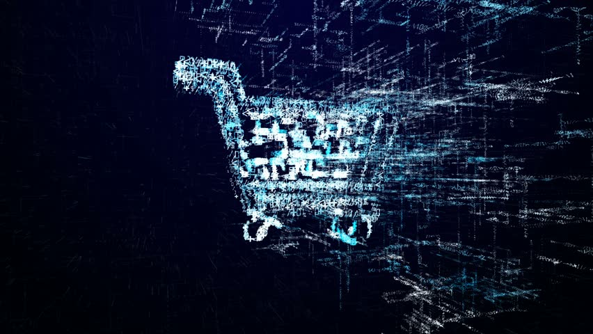 Shop icon consisting of interactive digit and symbol. Shopping icon in digital cyber space | Shutterstock HD Video #1007595958