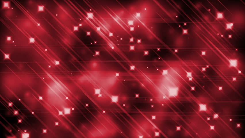 Fiery red parallel rays of light, twinkling blurred lights, light streaks forming crossing shiny lines with sparkling graphic particles, dynamic vivid background, abstract illustration, animation