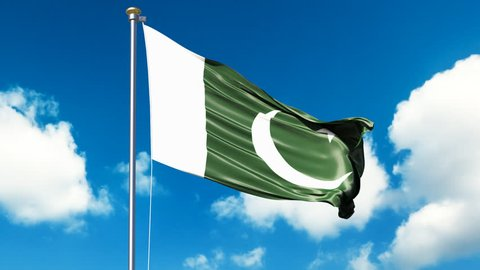 Waving Pakistan flag with sky and clouds video. Pakistan flag video