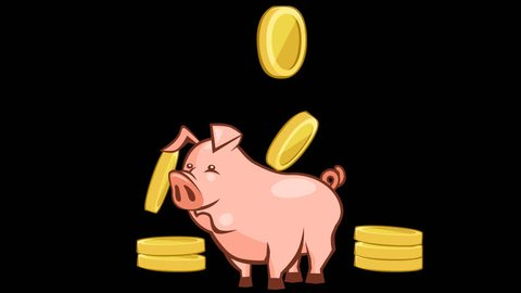 Cartoon animation falling money coins past the piggy bank. Alpha channel