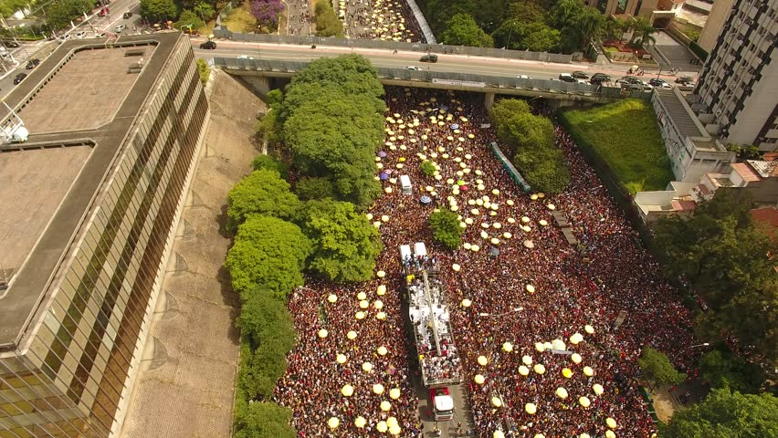 São Paulo-SP / Brazil - 02/17/2018: aerial view of crowd on 23rd avenue during carnaval