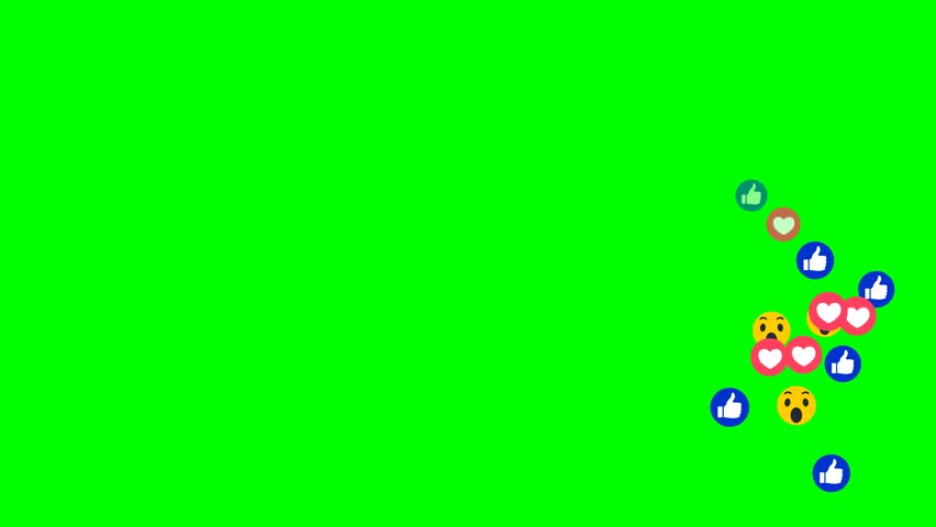 Social media Facebook new style live react emotion icon animated come across on green screen come from bottom to above screen | Shutterstock HD Video #1007625088