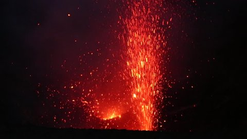 The eruption at vocano Yasur in Vanuatu. February 2014
