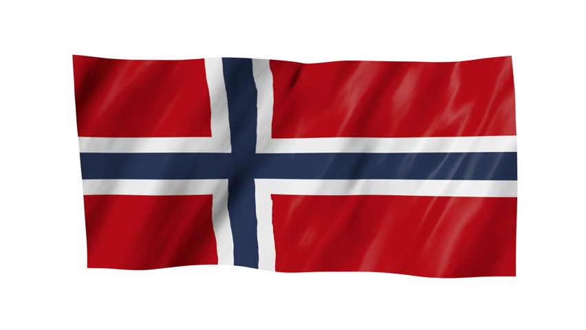 The Norwegian flag, flag in 3d, waving in the wind, on white background.