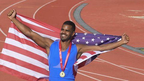 American athlete winning first place in international games, pride of country