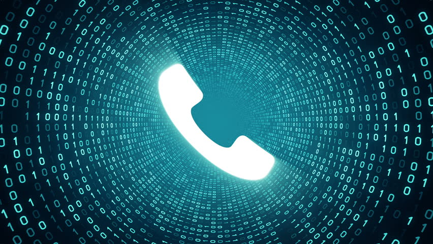 White ringing phone icon form cyan binary tunnel on cyan background. Seamless loop.  | Shutterstock HD Video #1007675656