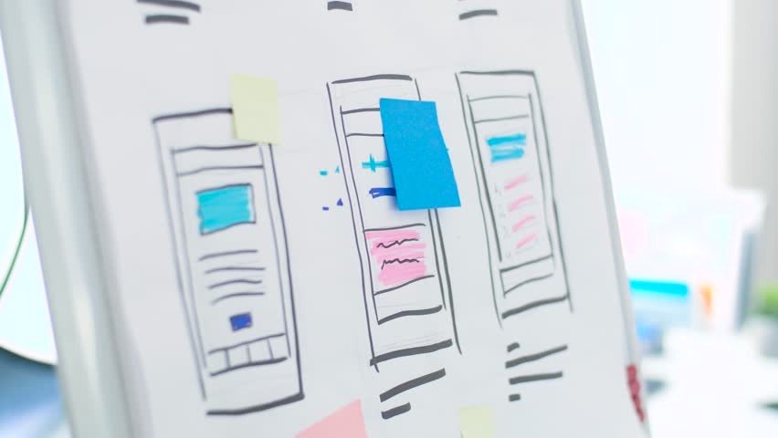 Technology, interface design and people concept - hand of creative woman or developer with marker writing on sticker and smartphone sketches on flip chart at office | Shutterstock HD Video #1007685028