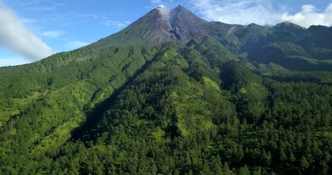 The view of merapi volcano in the morning from aerial