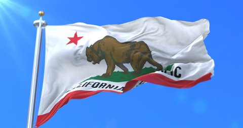 Flag of California state, region of the United States, waving at wind - loop