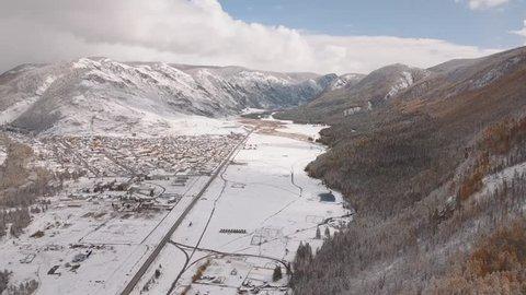 Aerial: Winter Snow Landscape