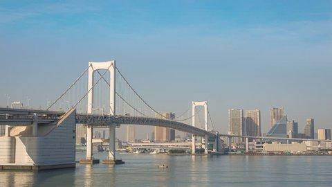 Tokyo city skyline timelapse at Rainbow Bridge, Odaiba, Tokyo, Japan 4K Time lapse
