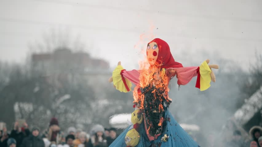 Belarus. Ignition Dummy Symbolizing Winter And Death In Slavic Mythology, Pagan Tradition. Oldest Surviving Eastern Slavic Religious National Traditional Folk Holiday Maslenitsa.