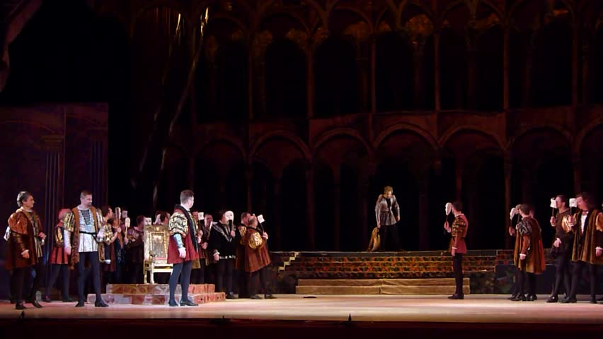 DNIPRO, UKRAINE - FEBRUARY 17, 2018: Classical opera Rigoletto performed by members of the Dnipro Opera and Ballet Theatre.  | Shutterstock HD Video #1007758918