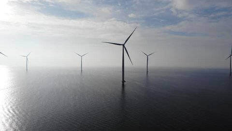 Offshore Windmill farm in the ocean  Westermeerwind park , windmills isolated at sea on a beautiful bright day Netherlands Flevoland Noordoostpolder, drone view bird eye view of windmill farm