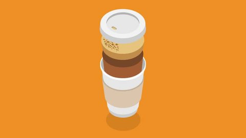 Cartoon coffee in a paper cup 2d animation in isometric style fast food service concept cooking take away