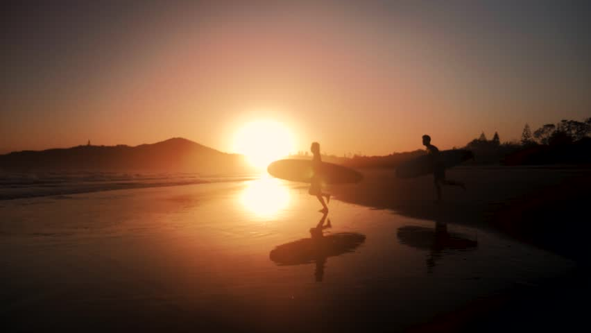 Surfers Sunrise Slow Motion Beach Summer  | Shutterstock HD Video #1007852368