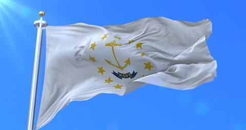 Flag of american state of Rhode Island, region of the United States, waving at wind - loop