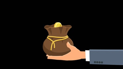 Cartoon coins fall into money bag in hand. Animation with alpha channel