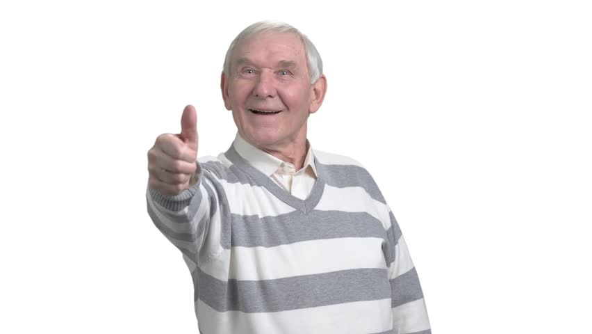 Old man with two thumbs up. Happy senior man giving two thumbs up, isolated on white background. Human facial expressions and body langauge.