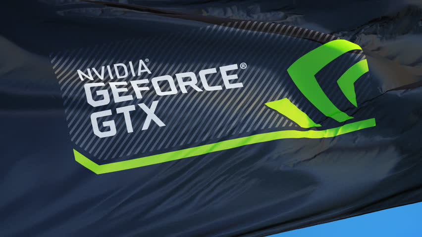 Nvidia GeForce GTX logo flag waving in slow motion against blue sky, editorial animation, seamlessly looped, close up, isolated on alpha channel with black and white matte.