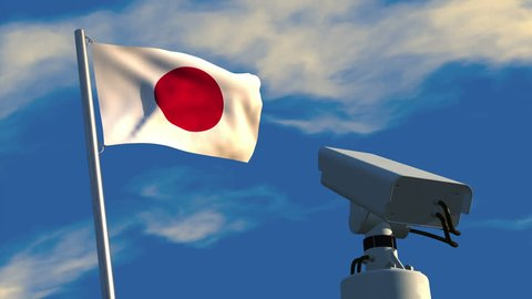 3D animation of a CCTV camera aimed at a Japanese flag then rotating to focus on the viewer; depicting increased use of video surveillance.