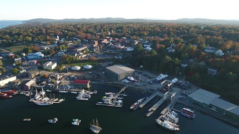 An eye-catching aerial view of the town of Belfast, Maine and Belfast Bay flying over the Passagassawakeag River. USA
