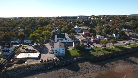 A dynamic aerial view of Digby in fall. Nova Scotia. Canada