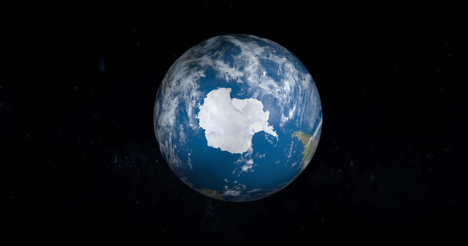 Antarctica, South Pole, in planet Earth in rotation, aerial view from outer space | Shutterstock HD Video #1007993218