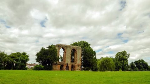 Timelapse of Caludon castle in caludon castle park, coventry, united kingdom