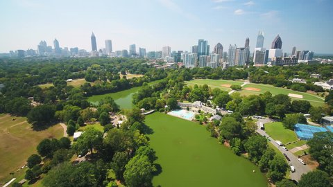 Atlanta Aerial v319 Flying low over Piedmont Park sunny full cityscape 9/17